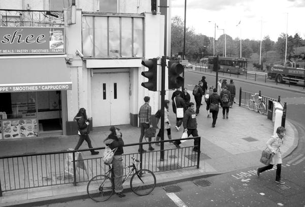 Crossing Mile End Road. East London 2010.