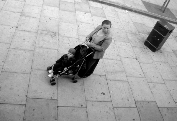 Woman and child. Mile End Road. East London 2010.