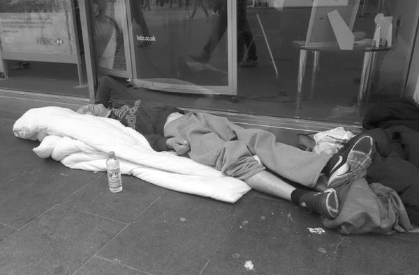 Asleep & homeless outside a bank. Liverpool September 2017.