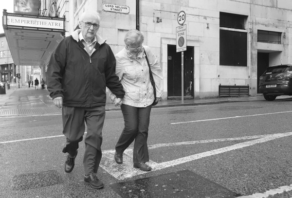 Couple in Lord Nelson Street. Liverpool 2017.