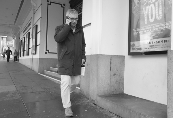 On the phone. Lime Street. Liverpool 2017.