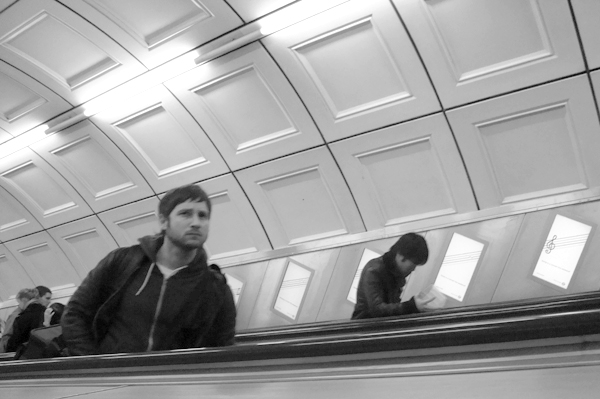 Escalator. Liverpool Street Station. London March 2010.