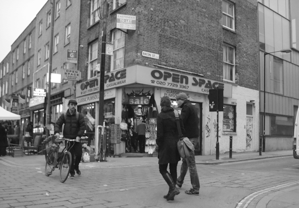 Junction of Bacon Street & Brick Lane. East London 2010.