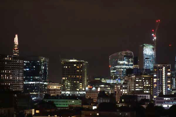 The City viewed from Old Montague Street. East London September 2017.