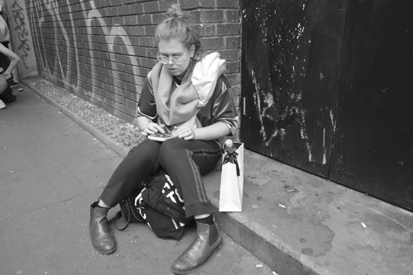 On the pavement in Hanbury Street. East London 2017.