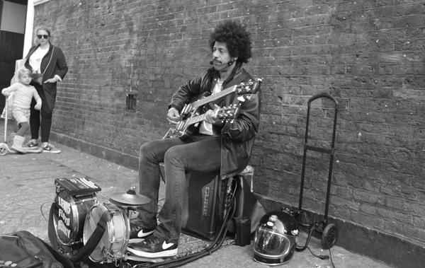 Musician on Brick Lane. East London 2017.