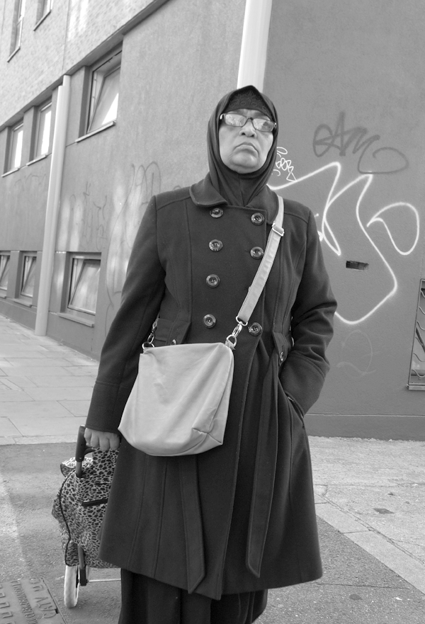 Woman with a trolley bag. Cheshire Street. East London 2017.