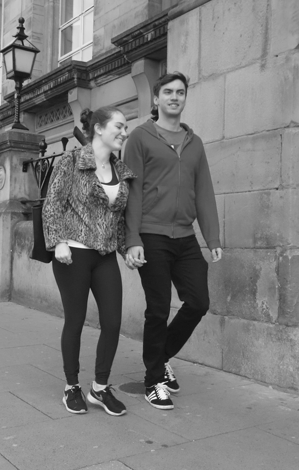 Couple on Lime Street. Liverpool October 2017.