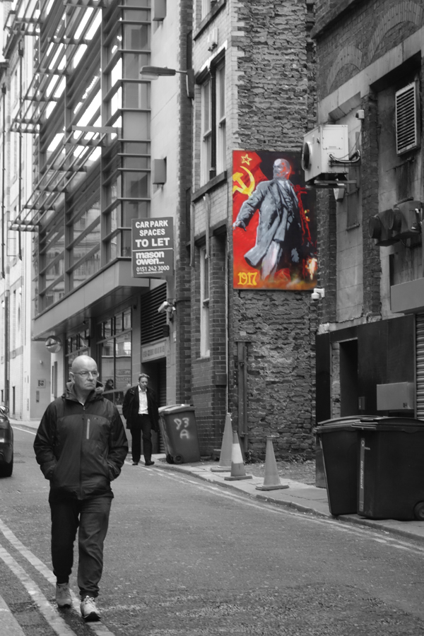 Lenin viewed from the street. Temple Street Liverpool 2017.