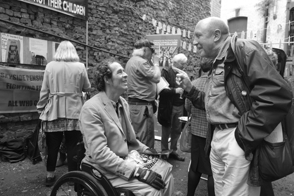 Discussing the art. Temple Street Liverpool 2017.