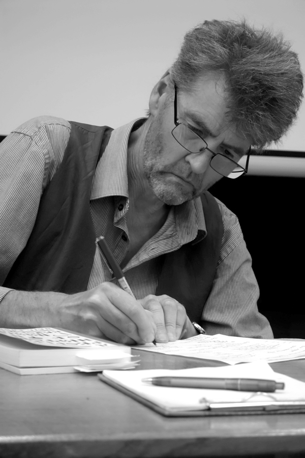 Author Neil Faulkner preparing notes before his talk on the October Revolution. Quaker meeting house, Liverpool 2017.
