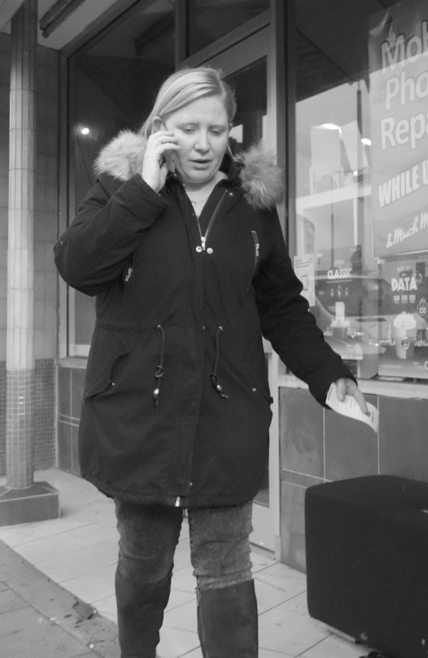 On the phone. Walton. November, Liverpool 2017.