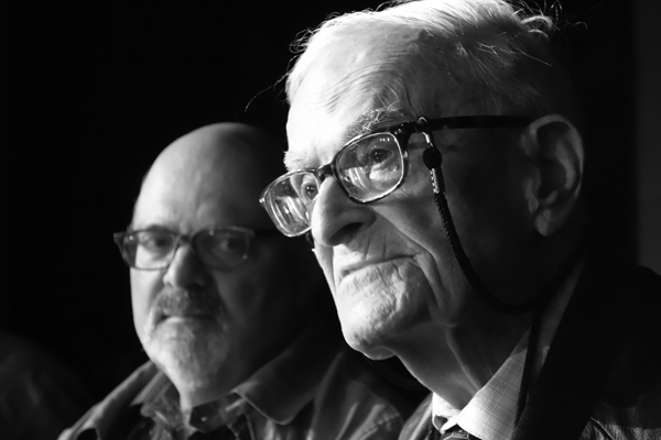 Harry Leslie Smith and his son John at Liverpool university. November, Liverpool 2017.