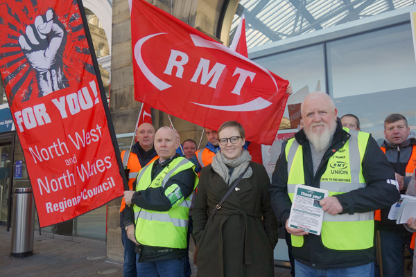 RMT red flags flying outside Lime Street station yesterday. Liverpool 2017.