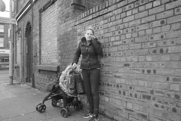 On the phone in Rathbone Road. Liverpool, November 2017.