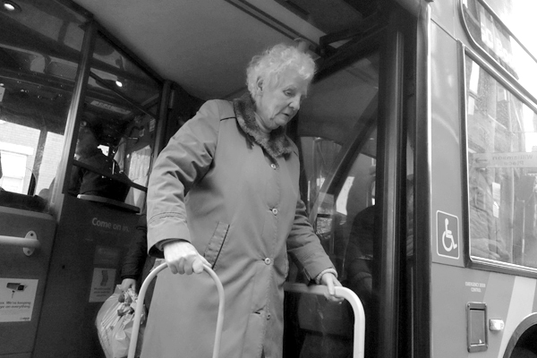 Getting off a bus in Old Swan. Liverpool, November 2017.