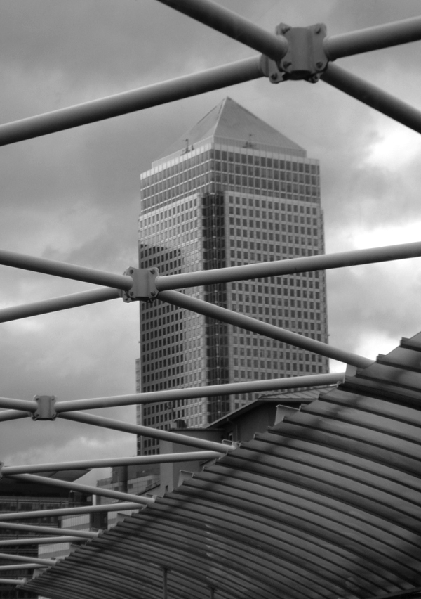 Canary Wharf viewed from a DLR train. East London, June 2007.