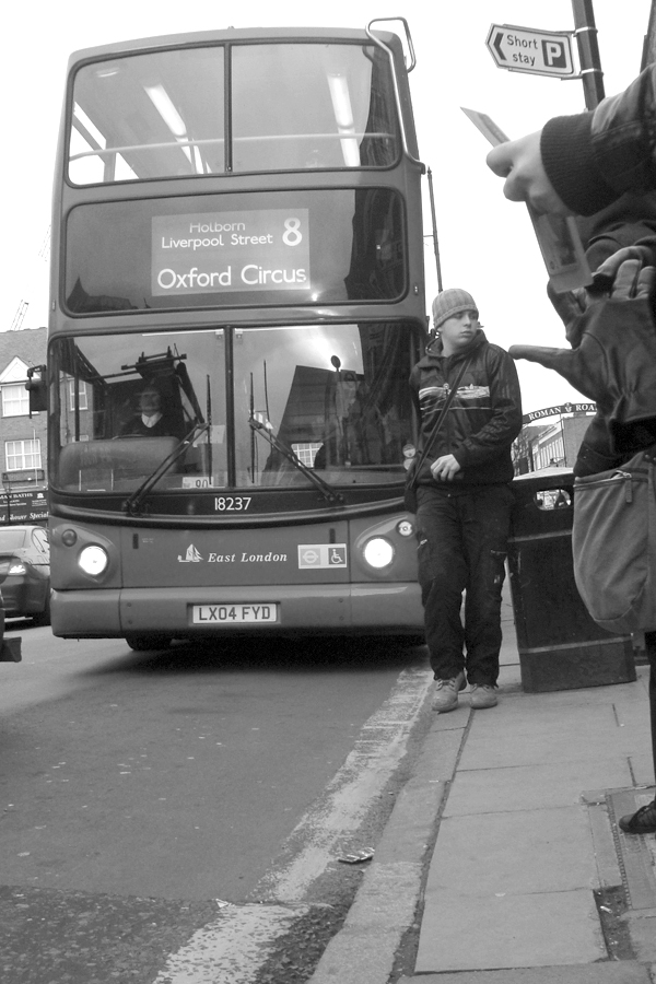 Number 8 bus on the Roman Road. East London 2010.