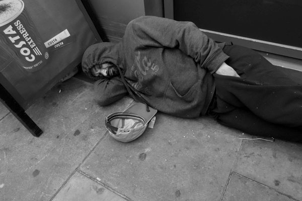 Homeless in Whitechapel. East London 2017.