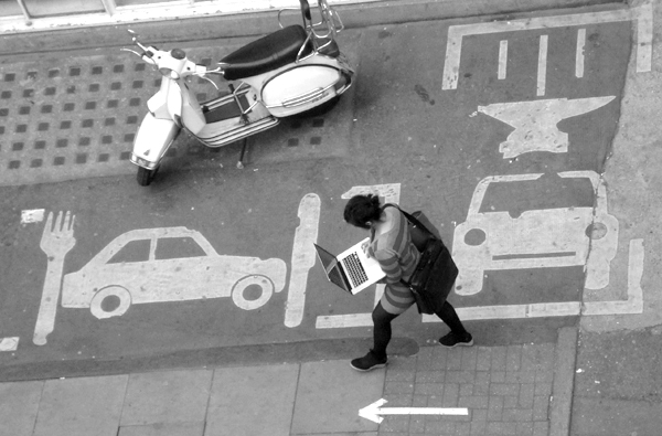 Laptop on Hanbury Street. East London May 2010.