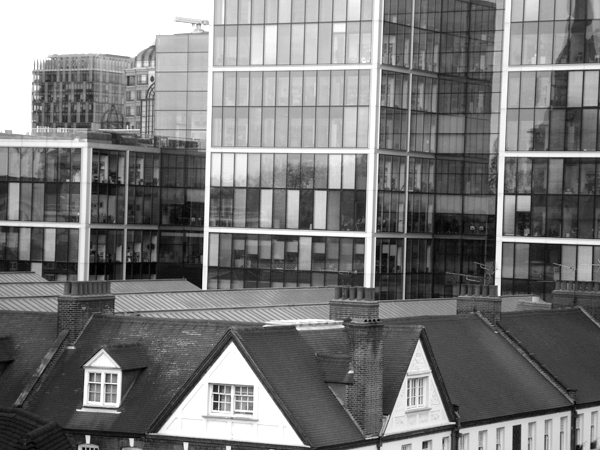 Spitalfields market and City offices. East London May 2010.