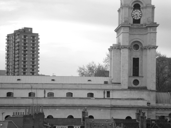 Christ Church and Denning point, Spitalfields. East London May 2010.