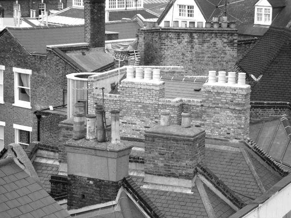 Spitalfields chimneys. East London May 2010.