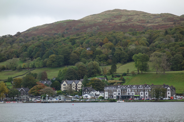 Buildings on the edge of Lake Windermere. October 2017.
