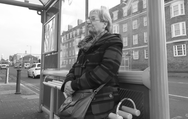Bus stop on Wavertree High Street. Liverpool, December 2017.
