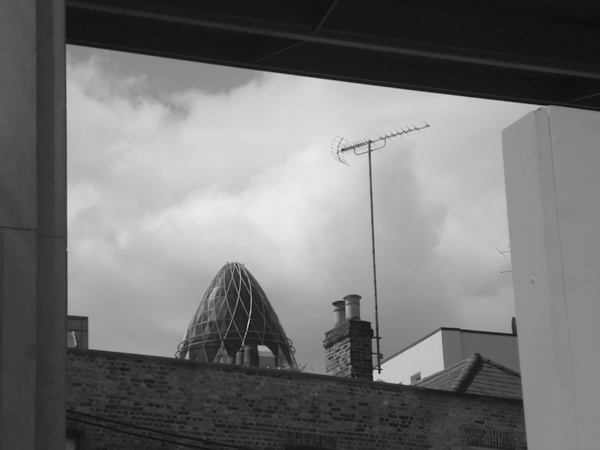 View of the Gherkin building. East London, June 2007.