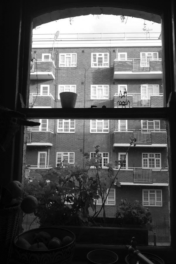 View from a window in Vallance Road. Spitalfields December 2017.