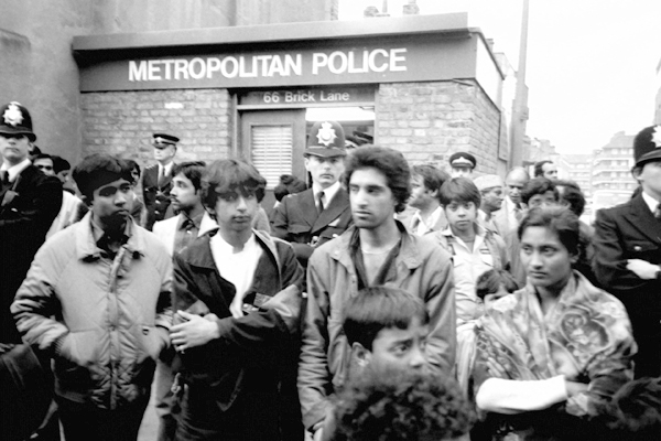 The demonstration concluded outside Brick Lane Police station.