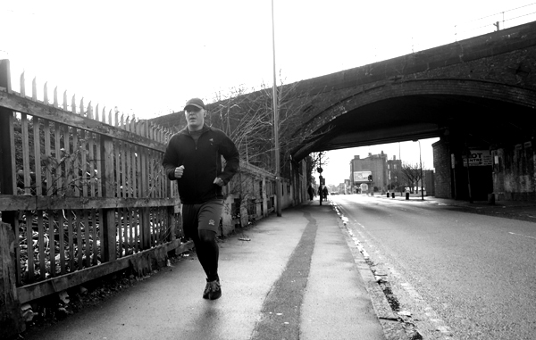Running along Wellington Road. Liverpool January 2018.