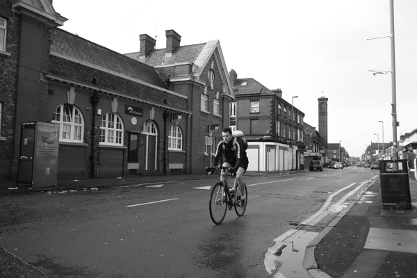 Cyclist on Lawrence Road. Liverpool January 2018.