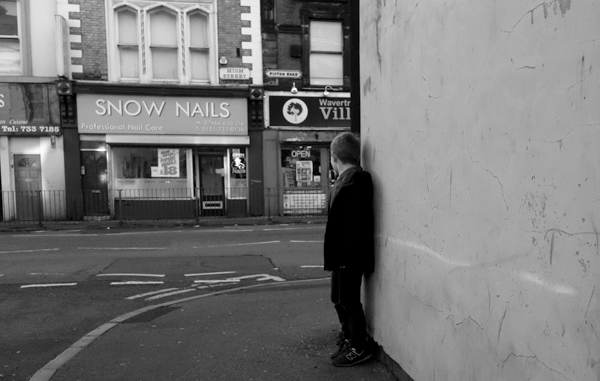 Playing 'Hide & seek' on Picton Road. Liverpool, January 5th 2018.
