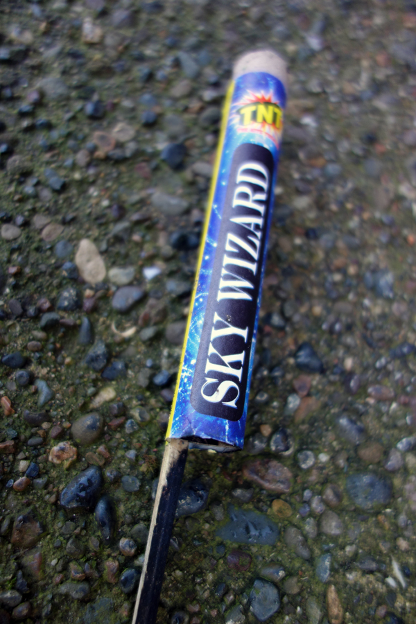 Defunct sky rocket in Sandown Lane. Liverpool, January 5th 2018.