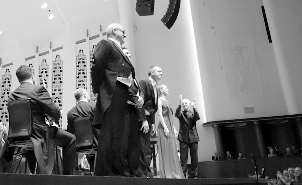 Soloists receive applause from the audience at the end of the concert. Liverpool, January 2018.