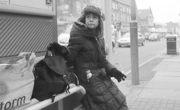 Bus stop on Picton Road. Liverpool January 2018.