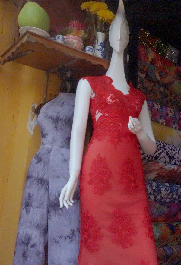 Red dress for sale. Hoi An, Vietnam 2016.