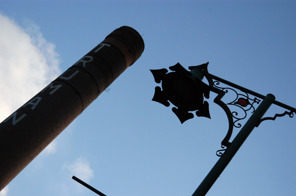 Looking up on Brick Lane. East London 2002.