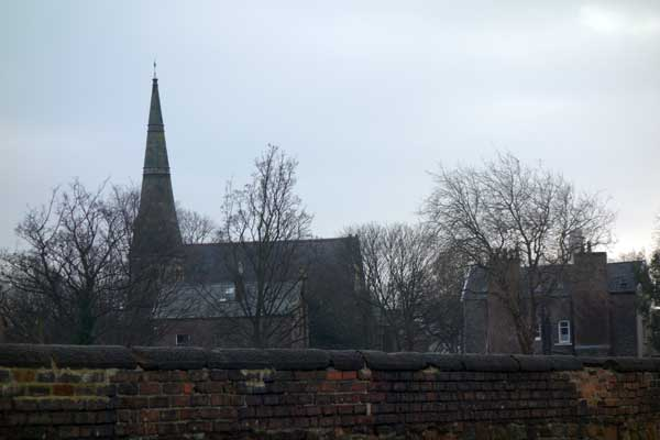 View of St Mary's Church from Sandown Lane. Liverpool January 2018.