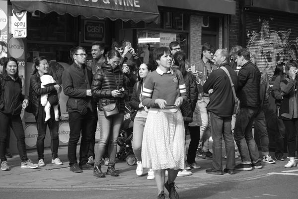 Tourists on Brick Lane. East London, September 2017.