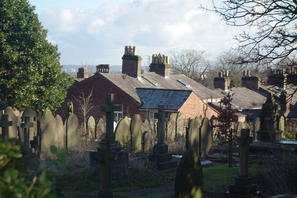 View from the parish church of St Peter in Woolton. Liverpool January 2018.