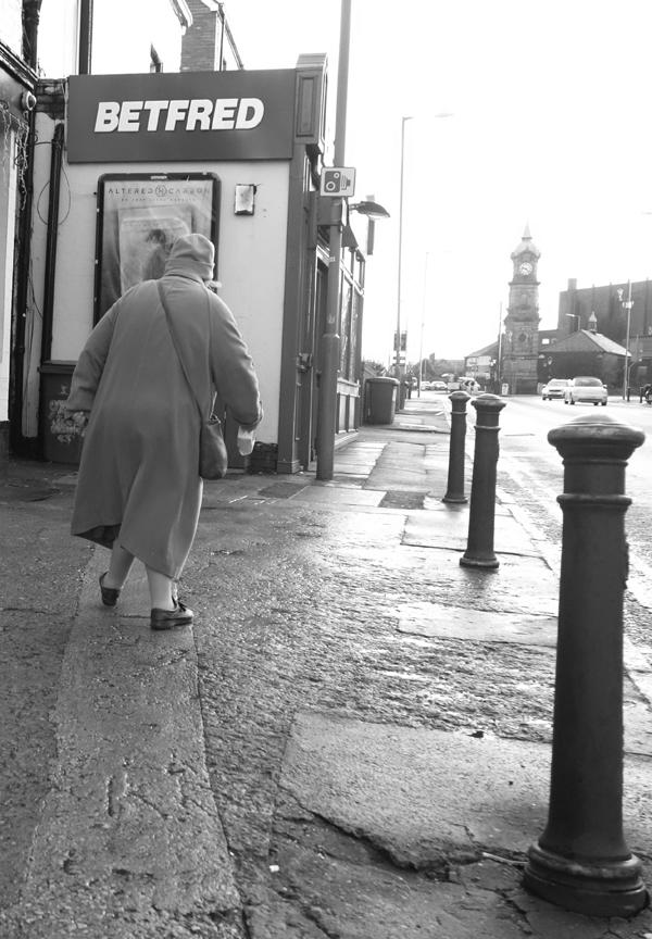 Walking towards Picton Clock. Wavertree High Street. Liverpool January 2018.
