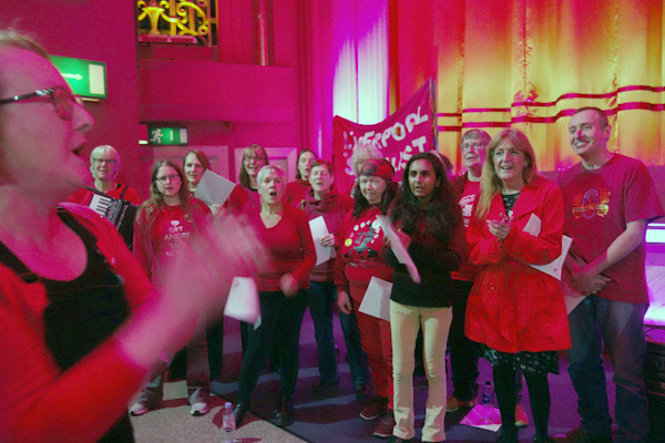 Liverpool Socialist singers entertained the audience before the curtain was raised.February 2nd 2018.