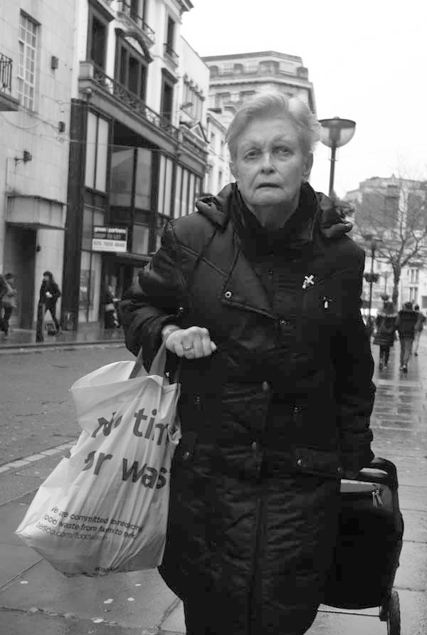 Woman with her shopping in Bold Street. Liverpool, February 2018.