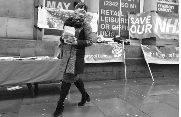 Labour Party campaigner on Bold Street. Liverpool, February 2018.
