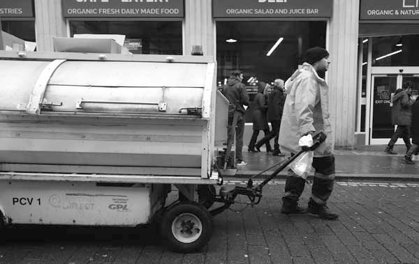 Keeping Bold Street clean. Liverpool, February 2018.