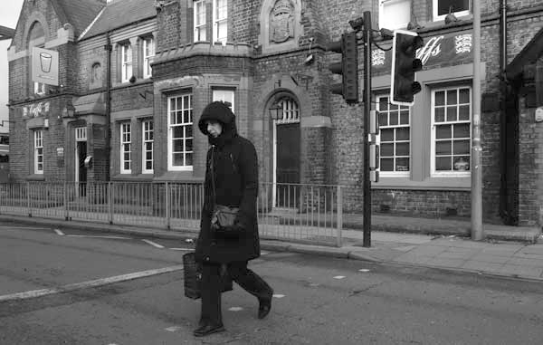 Crossing Wavertree High Street. Liverpool, February 2018.