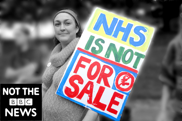 NHS is not for sale. Publicity shot for the film. Manchester 2017.